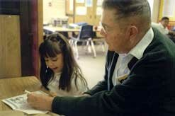 Mentor Lew Howell with a student at Alvin School in Santa Maria